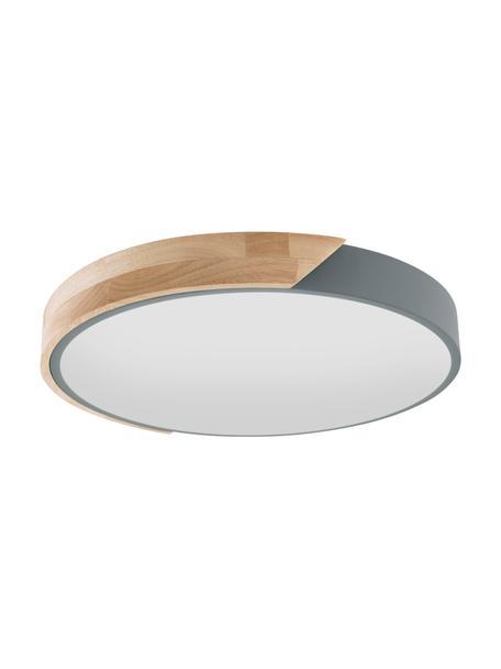 Kleine LED-plafondlamp Borneo met houtdecor, Diffuser: acryl, Eikenhoutkleurig, grijs, wit, Ø 30 x H 5 cm