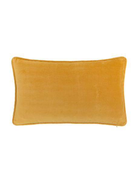 Einfarbige Samt-Kissenhülle Dana in Ockergelb, 100% Baumwollsamt, Ocker, 30 x 50 cm