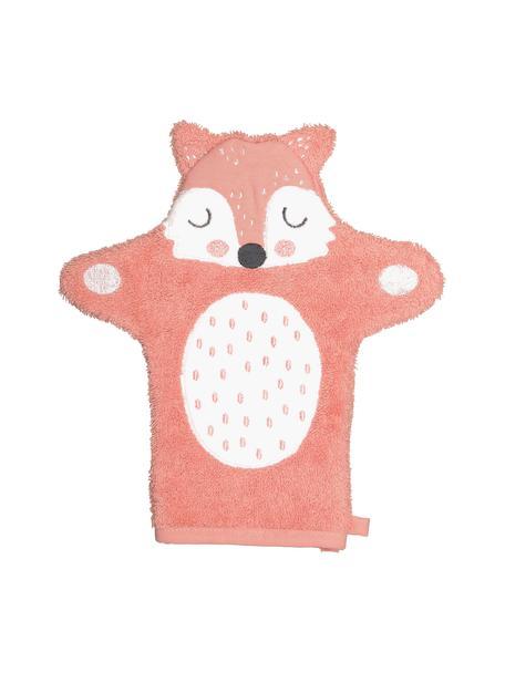Waschlappen Fox Frida aus Bio-Baumwolle, 100% Biobaumwolle, Rosa, Weiss, Schwarz, 21 x 26 cm