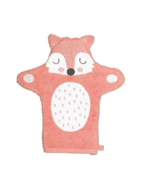 Manopla de baño de algodón ecológico Fox Frida, 100%algodón ecológico, Rosa, blanco, negro, An 21 x L 25 cm