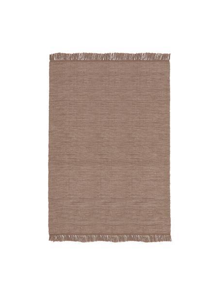 Baumwollteppich Dag mit Fransenabschluss, 100% Baumwolle, Taupe, B 140 x L 200 cm (Grösse S)