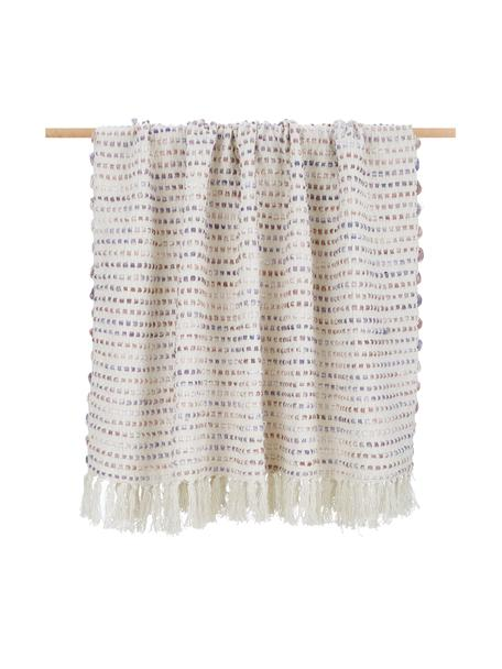Baumwoll-Plaid Kampala mit Fransenabschluss und Hoch-Tief-Struktur, 70% Baumwolle, 30% Arcyl, Cremefarben, Rosatöne, 130 x 170 cm