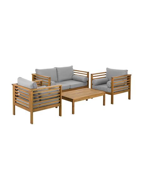Outdoor loungeset Bo, 4-delig, Frame: geolied massief acaciahou, Bekleding: grijs. Frame: acaciahoutkleurig, Set met verschillende formaten