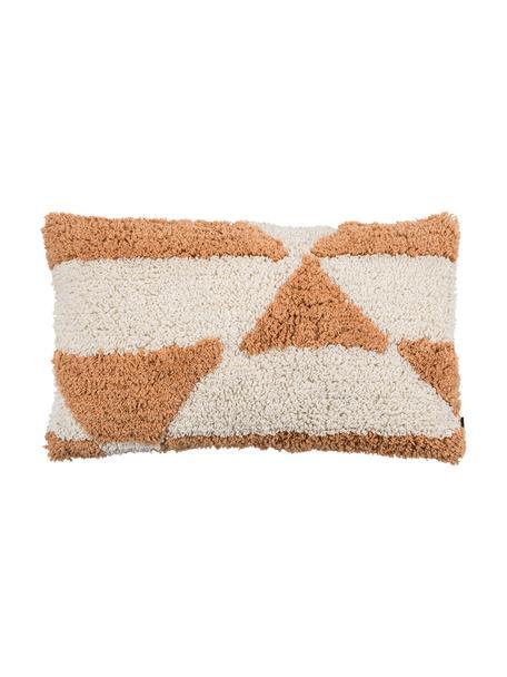 Flauschige Kissenhülle Power mit getufteter Oberfläche, 100% Baumwolle, Orange, gebrochenes Weiss, 30 x 50 cm