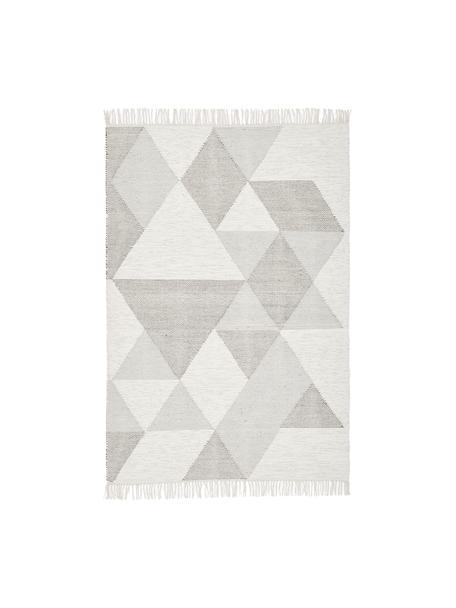 Handgewebter Teppich Ruana, Grau, Beige, B 120 x L 180 cm (Größe S)