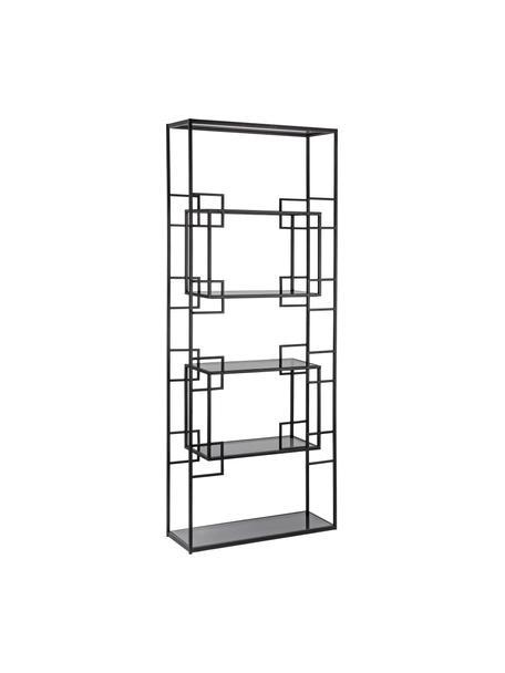 Libreria in metallo nero Korvet, Struttura: metallo epossidato e vern, Ripiani: vetro, Nero, grigio trasparente, Larg. 71 x Alt. 183 cm