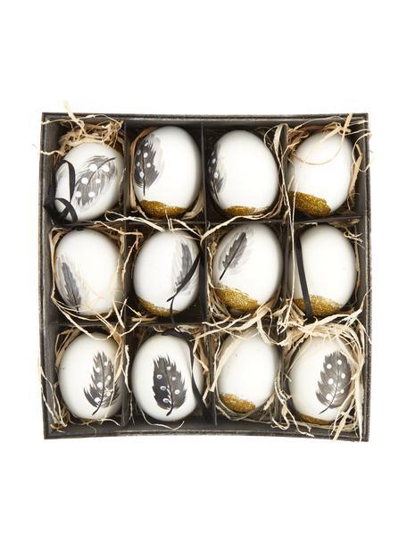 Deko-Anhänger-Set Disa, 12-tlg., Echte Eier, Weiß, Goldfarben, Grau, Ø 6 x H 7 cm