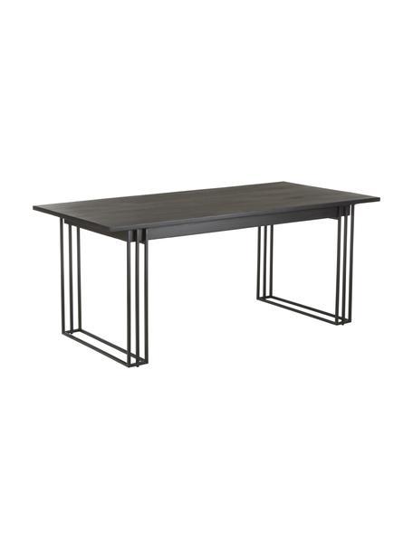 Mesa de comedor de madera maciza Grant, Tablero: madera de mango maciza ce, Estructura: metal con pintura en polv, Negro, An 180 x Al 90 cm