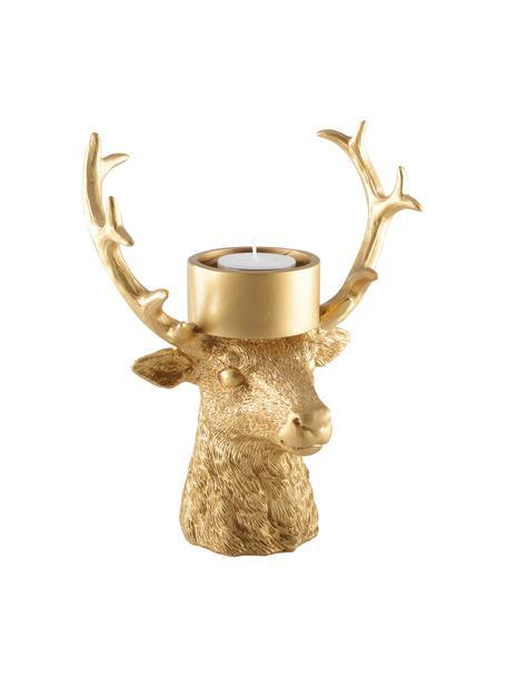 Teelichthalter Deer, Polyresin, Goldfarben, 18 x 22 cm