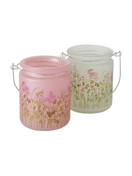Teelichthalter-Set Rosalie, 2-tlg., Glas, Mehrfarbig, Ø 8 x H 10 cm