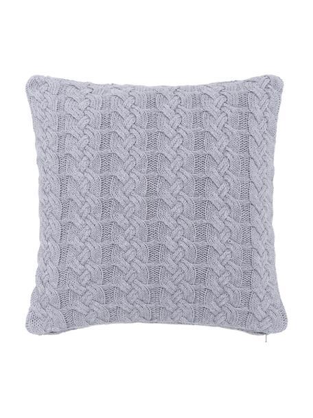 Federa arredo  fatta a maglia con motivo a trecce Caleb, 100% cotone, Grigio, Larg. 40 x Lung. 40 cm