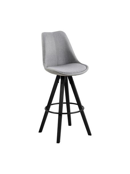 Krzesło barowe Dima Textile, 2 szt., Tapicerka: poliester 25 000 cykli w , Nogi: drewno kauczukowe, lakier, Jasny szary, S 49 x W 112 cm