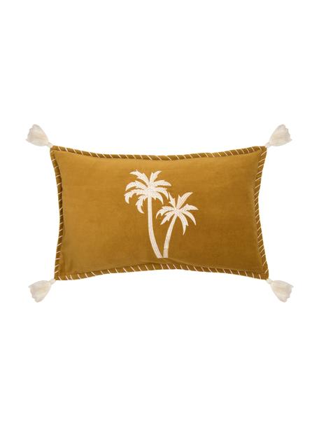 Fluwelen kussenhoes Bali met geborduurde palmen en kwastjes, 50% katoen 50% polyester, Mosterdgeel, wit, 30 x 50 cm
