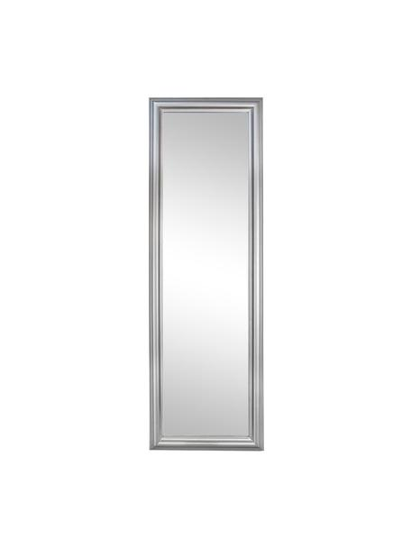 Eckiger Wandspiegel Sanzio mit silbernem Rahmen, Rahmen: Holz, beschichtet, Spiegelfläche: Spiegelglas, Silberfarben, 42 x 132 cm