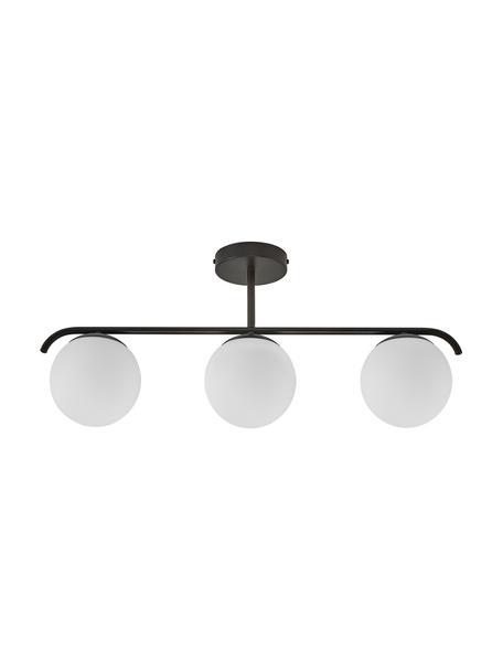 Plafondlamp Grant van opaalglas, Lampenkap: opaalglas, Baldakijn: gecoat metaal, Wit, zwart, 70 x 30 cm
