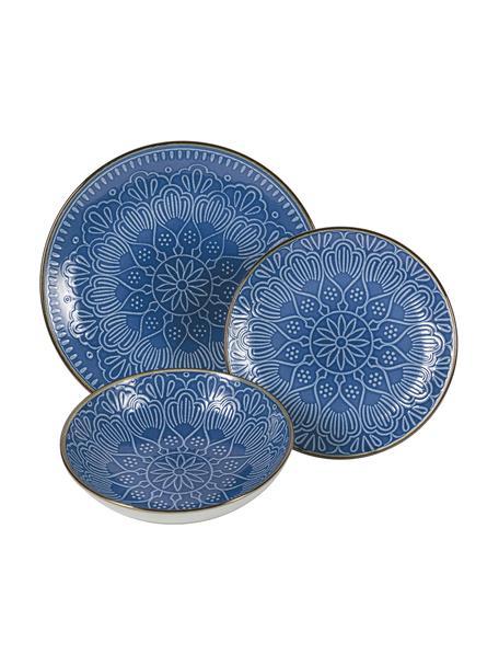 Geschirr-Set Baku mit Ornament-Relief, 6 Personen (18-tlg.), Keramik, Blau, Set mit verschiedenen Grössen