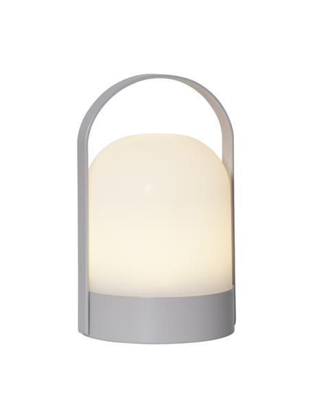 Lámpara de mesa con temporizador Lette, portátil, Pantalla: plástico, Estructura: metal pintado, Blanco, gris, Ø 14 x Al 22 cm