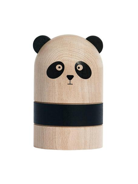 Spardose Panda, Buchenholz, Holz, Schwarz, Ø 10 x H 15 cm