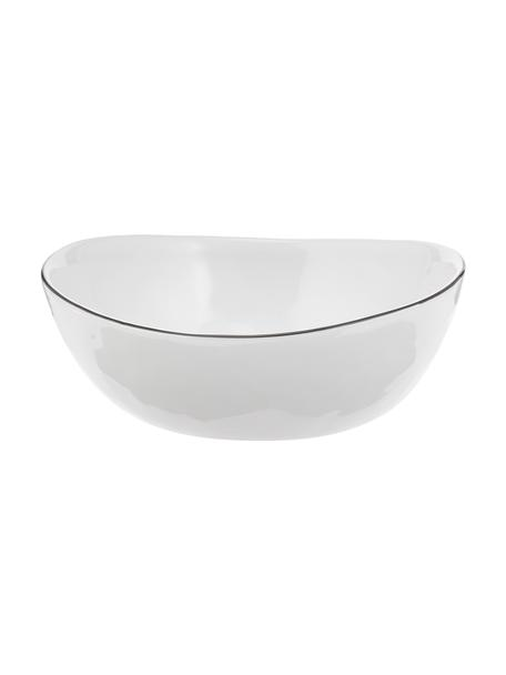 Cuencos artesanales Salt, 4uds., Porcelana, Blanco crudo, negro, An 17 x F 15 cm