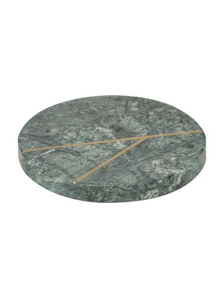Posavasos de mármol Marek, 4uds., Mármol, Verde, dorado, Ø 10 x Al 1 cm
