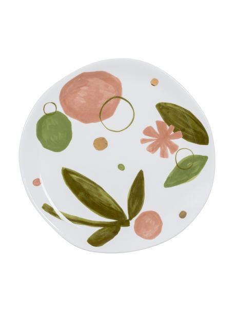 Piattino da dessert Expressive, Porcellana, Bianco. rosa, verde, dorato, Ø 17 cm