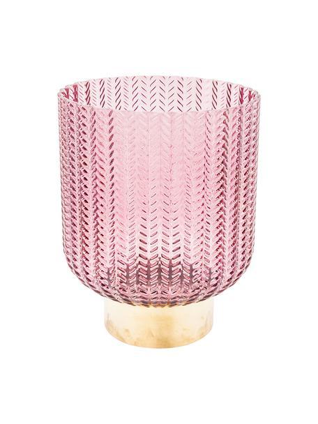 Glazen vaas Barfly met messing voetstuk, Vaas: geverfd glas, Voetstuk: geborsteld messing, Roze, transparant, Ø 17 x H 20 cm