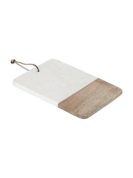 Marmeren snijplank Danelle, Ophanglus: kunstleer, Mangohout, wit, gemarmerd, 30 x 20 cm