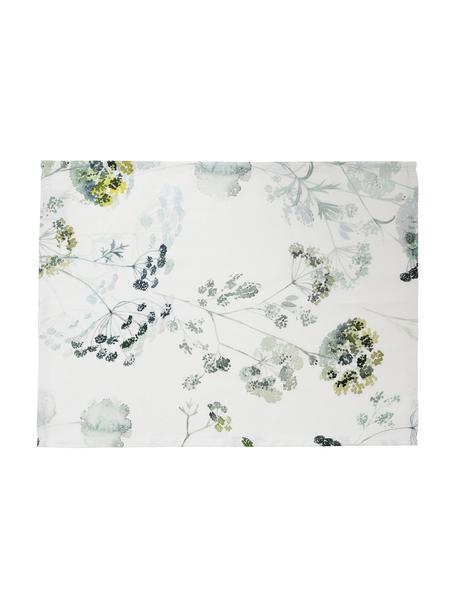Manteles individuales de algodón Herbier, 2uds., Algodón, Blanco, tonos verdes, An 38 x L 50 cm