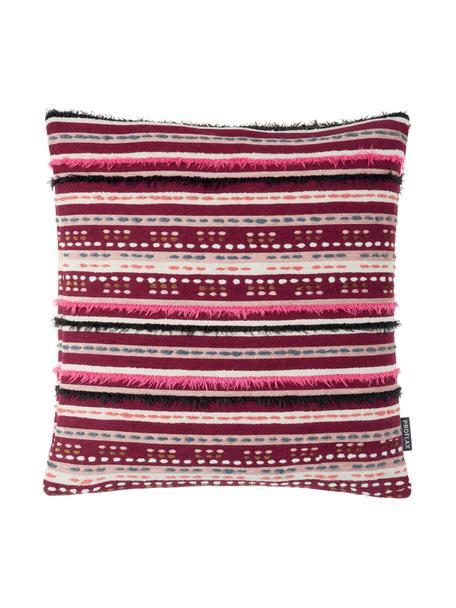 Poszewka na poduszkę z frędzlami Camino, 49% bawełna, 39% wiskoza, 12% poliakryl, Czerwony, wielobarwny, S 45 x D 45 cm