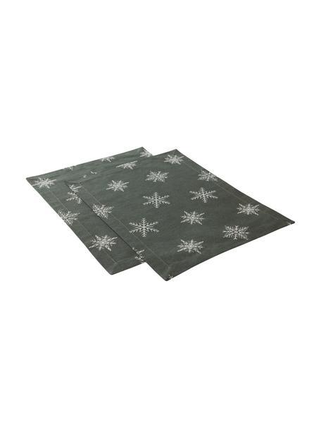 Manteles individuales Snow, 2uds., 100%algodón de cultivos sostenible de algodón, Verde, blanco, An 35 x L 45 cm