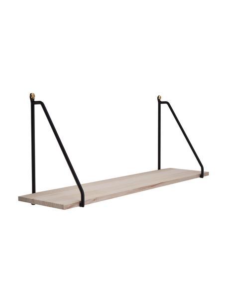 Mensola in metallo e legno Arnhem, Struttura: metallo verniciato a polv, Mensola: legno di paulownia, Nero, marrone, Larg. 65 x Alt. 27 cm