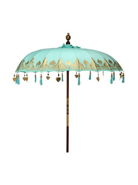 Sonnenschirm Oriental Lounge, Gestell: Fruchtholz mit Metallappl, Türkis, Goldfarben, Dunkelbraun, Ø 180 x H 225 cm