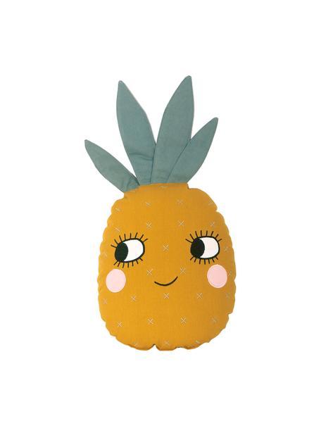 Cojín de algodón ecológico Pineapple, con relleno, Exterior: 100% algodón ecológico, c, Amarillo, An 32 x L 61 cm