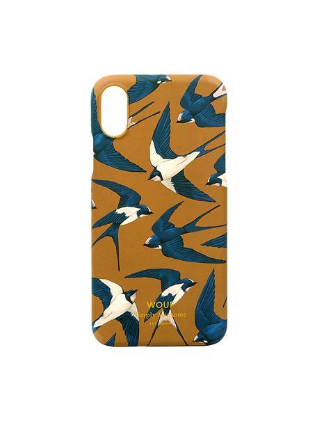 Cover  per iPhone X  Swallow, Silicone, Arancione, blu, beige, Larg. 7 x Alt. 15 cm