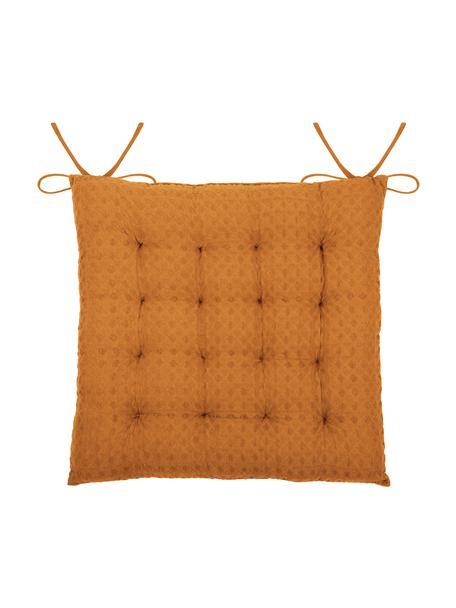 Waffelpiqué-Sitzkissen Gopher, Bezug: 100% Baumwolle, Senfgelb, 40 x 40 cm