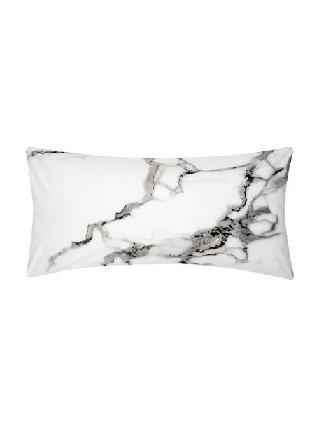 Poszewka na poduszkę z perkalu Malin, 2 szt., Przód: wzór marmurowy, szary Tył: jasny szary, gładki, S 40 x D 80 cm