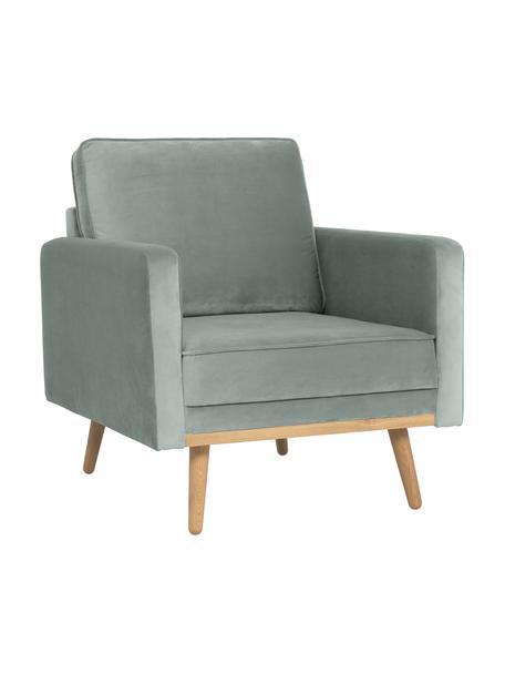 Fluwelen fauteuil Saint, Bekleding: fluweel (polyester), Frame: massief grenenhout, spaan, Fluweel saliekleurig, B 85 x D 76 cm