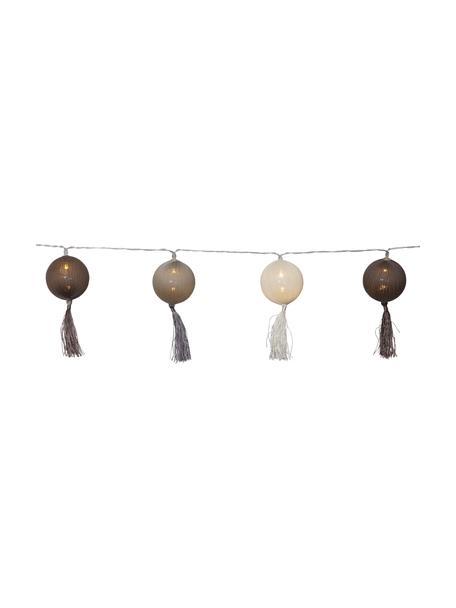 LED-Lichterkette Jolly Tassel, 185 cm, Tasseln: Baumwolle, Braun, Beige, L 185 cm