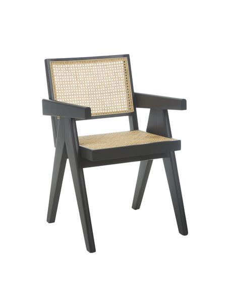 Krzesło z podłokietnikami z plecionką wiedeńską Sissi, Stelaż: lite drewno bukowe, lakie, Drewno bukowe, S 52 x G 58 cm