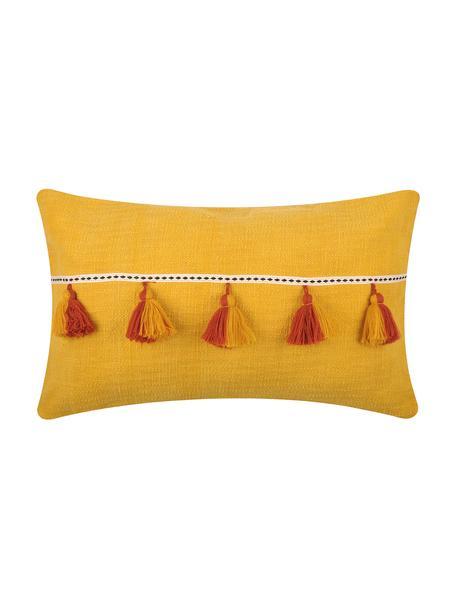 Cuscino giallo con imbottitura e nappe Majorque, 100% cotone, Giallo, rosso, Larg. 35 x Lung. 55 cm