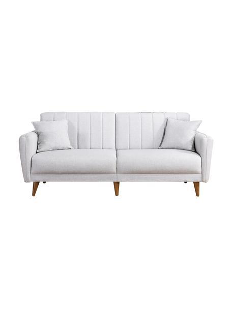 Divano letto 3 posti in lino beige Aqua, Rivestimento: lino, Struttura: corno, metallo, Piedini: legno, Beige, Larg. 202 x Prof. 85 cm