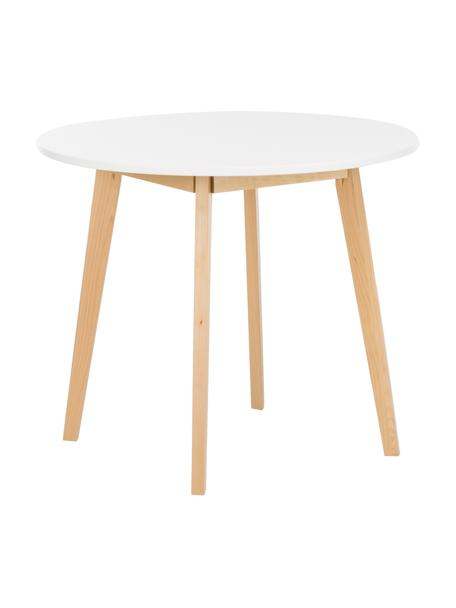 Kleine ronde eettafel Raven in Scandi-design, Poten: natuurlijk berkenhout, Tafelblad: gelakt MDF, Wit, natuurlijk berkenhout, Ø 90 cm