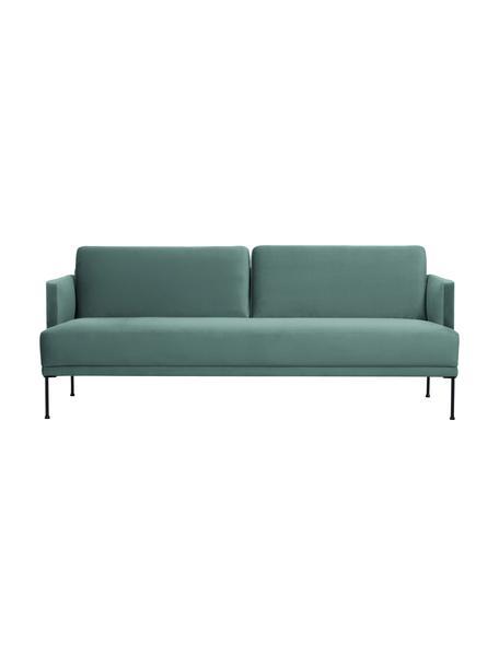 Samt-Sofa Fluente (3-Sitzer) in Hellgrün mit Metall-Füssen, Bezug: Samt (Hochwertiger Polyes, Gestell: Massives Kiefernholz, Samt Hellgrün, B 196 x T 85 cm