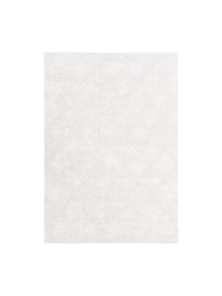 Tappeto in viscosa taftato a mano con motivo rombi Madeleine, Retro: 100% cotone, Crema, Larg. 120 x Lung. 180 cm (taglia S)