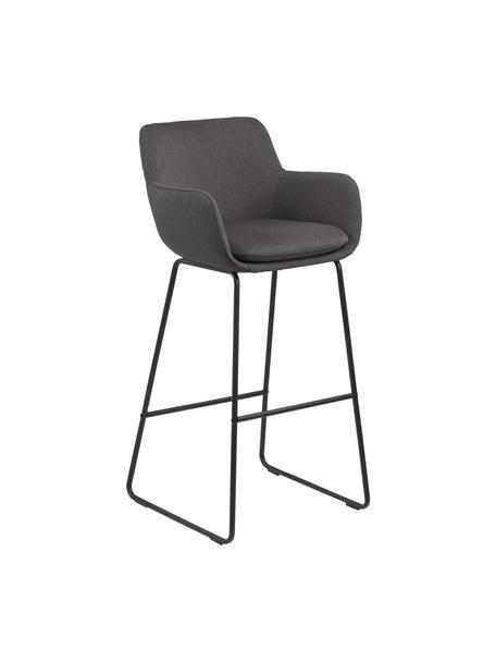 Sedia da bar Lisa 2 pz, Rivestimento: poliestere, Struttura: metallo verniciato a polv, Grigio scuro, nero, Larg. 52 x Alt. 100 cm