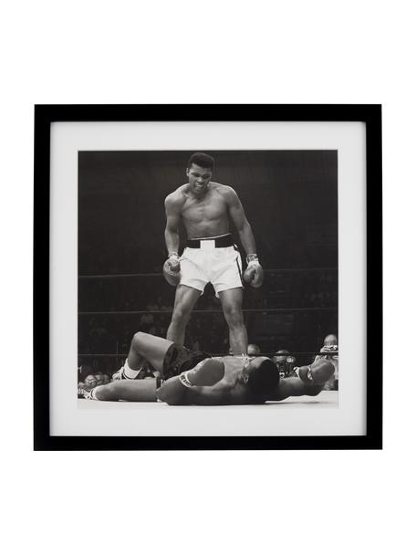 Oprawiony druk cyfrowy Moh.Ali, Stelaż: tworzywo sztuczne, Ilustracja: czarny, biały Stelaż: czarny, S 40 x W 40 cm
