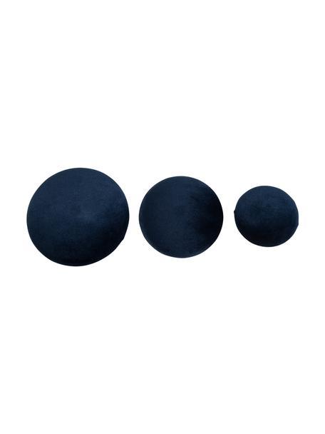 Set de ganchos de terciopelo Giza, 3pzas., Fijación: metal recubierto, Azul oscuro, latón, Set de diferentes tamaños