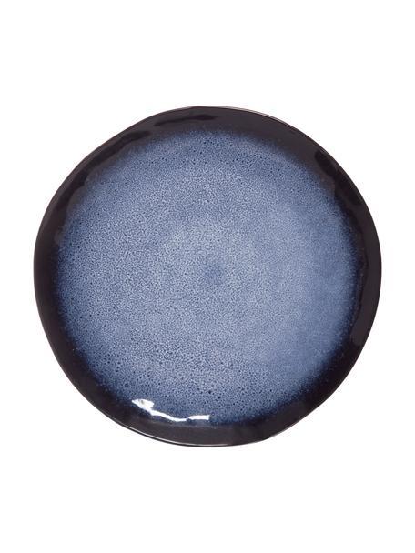 Platos llanos Sapphire, 3uds., Gres, Azul, marrón negro, Ø 27 cm