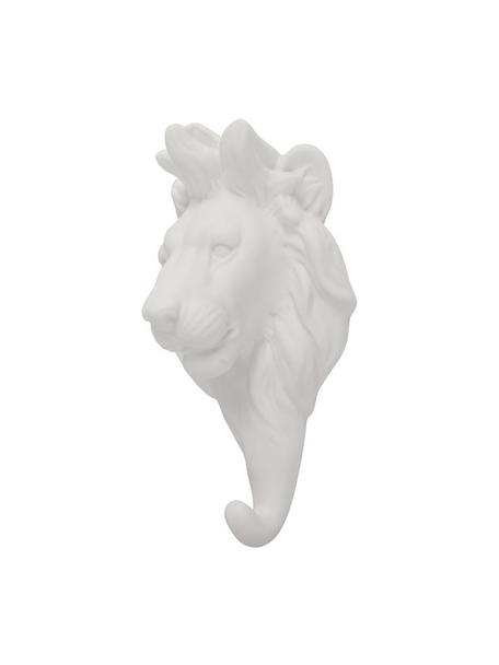 Wandhaken Lion aus Porzellan, Porzellan, Weiss, H 15 cm