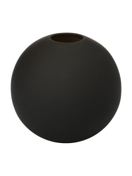 Handgemaakte bolvormige vaas Ball, Keramiek, Zwart, Ø 10 x H 10 cm